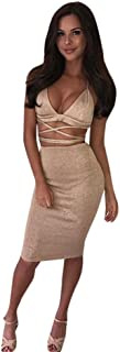 Bellelove Frauen V-Ausschnitt Party Club Bodycon Zweiteiler Crop Tops Rock Sexy Kleid (S, Khaki)