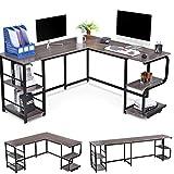 Houssem Escritorio de esquina en forma de L con estantes para oficina en casa, mesa de ordenador reversible grande para 2 personas, Gaming Corner Desk, mesa de trabajo, gris,