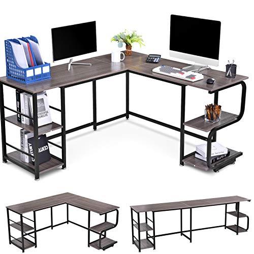 Houssem Escritorio de esquina en forma de L con estantes para oficina en casa, mesa de ordenador reversible grande para 2 personas Gaming Corner Desk mesa de trabajo (gris)
