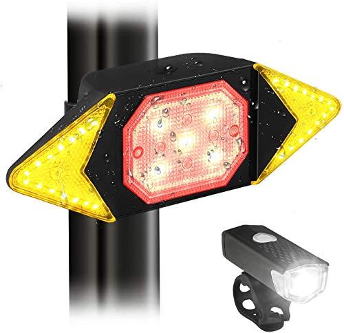 JNUYISW Fanale posteriore per bici con indicatori di direzione, spia LED freno posteriore per bici impermeabile con telecomando wireless, luci per bici ricaricabili intelligenti anteriori e posteriori