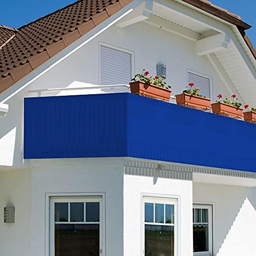Oramics Sichtschutz Sichtblende für Balkon Geländer Zaun ca. 90x500 cm - Balkonverkleidung Blickdicht atmungsaktiv – Balkonumspannung PVC UV-Schutz HDPE Geflecht 24 Alu Ösen (Blau)