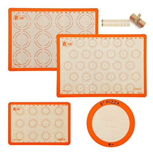 4-Piece Silicone Baking Mat Set,GUANCI 2PCS 16-1/2'x11-5/8' Rolling Macaron Baking Mat&1PCS 11-3/4'x 8-1/4' Reusable Baking Mat&1PCS 9'Round Pizza Baking Mat for Bake Pans & Macaroon/Pizza/Cookie