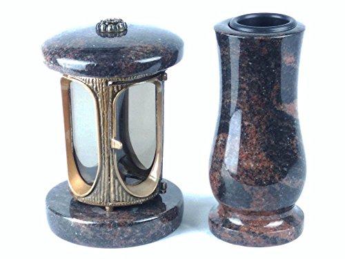 designgrab Grablampe aus messingfarbenem Aluminium in Antikoptik und Grabvase Taille-medium in Granit Aurora/Aruba/Aurindi/Indora