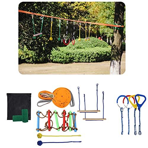 Ninja Warrior Obstacle Course 50 FT Ninja Slackline Kit for Kids with Gymnastics Rings, Monkey Bars, Rope Knots, Climb Ladder for Backyard