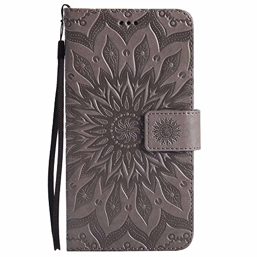Galaxy Note 3 Hülle, Dfly Premium Slim PU Leder Mandala Blume prägung Muster Flip Hülle Bookstyle Stand Slot Schutzhülle Tasche Wallet Case für Samsung Galaxy Note 3, Grau