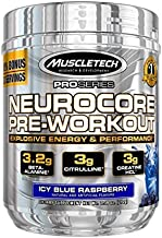 MuscleTech Neurocore Pre Workout Powder with Creatine, Beta-Alanine, & Citrulline, Icy Blue Raspberry, 33 Servings (210g)