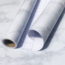 "[Upgraded]Marble Paper Granite Gray/White Roll 17.7""x118"" Kitchen Countertop Cabinet Furniture,Vinyl Self Adhesive Decorat..."