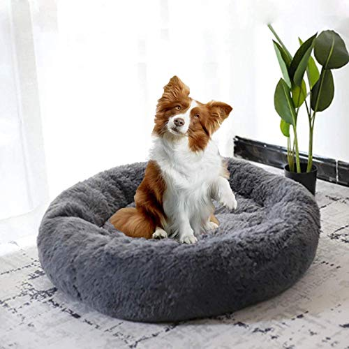 DanChen Round Pet bed, Calming Bed Plush Nest Warm Soft Cushion Donut Cuddler Cat Dog Puppy Comfortable for Sleeping Winter, Washable-90 cm-Gray