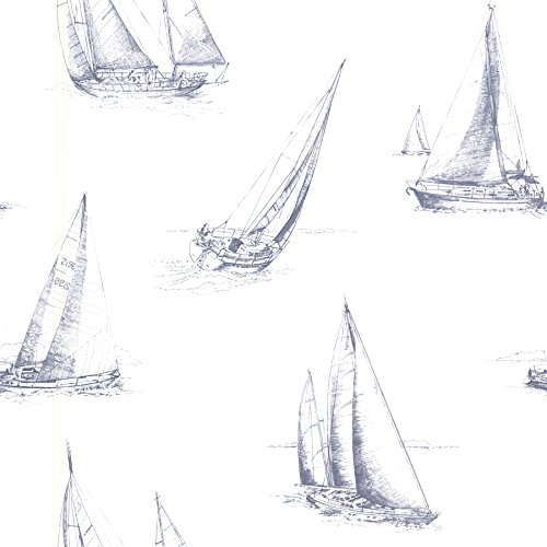 Beacon House 2604-21200 Voyage Sailboats Wallpaper, Navy