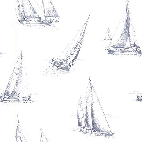 Beacon House 2604-21200 Voyage Sailboats Wallpaper, Navy