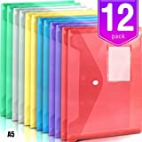 Sobres de plástico A5, sobre polivinílico multicolor, 12 paquetes de carpetas de documentos transparentes con botón a presión, para la...