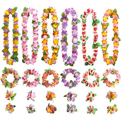 GWHOLE 48 Pièces Hawaiian Fleurs Guirlande Multicolore Tropical Décoration, 24 Bracelets 12 Bandeaux et 12 Colliers pour Luau Hawaiian Plage Mariage Pique-Nique Fête Party
