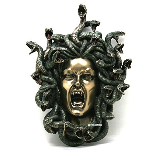 Medusa Head of Schlangen Gothic Wandschild Décor Statue Bronze Finish 37 cm