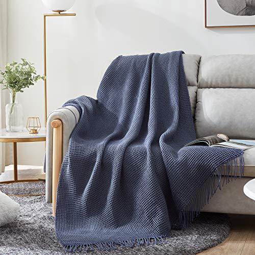 Hansleep TagesdeckeWohndecke 130 x 150 cm Leichte und Luftige Kuscheldecke Acryl Waffelpique Decke Doppelseitige Sofadecke sehr Angenehmer Überwurf für Sofa und Bett Blau