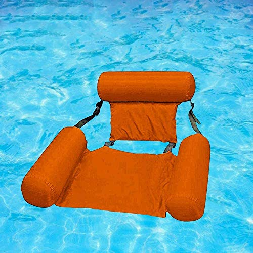FANIER Aufblasbare Hängematte Lounge, Pool Floating Hammock Recliner Lounge Aufblasbarer Badelounge Wasserhängematte Wasseriege Pool Schwimmende Bett Wasser Sofa (Orange)