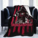 Vudeidfn Georgia Bulldog Fleece Blanket Throw Cozy Fuzzy Soft Blanket Microfiber All-Season for Sofa Couch Bed
