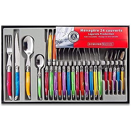 Laguiole Heritage - Ménagère 24 pièces multicolore - Set de couverts de table acier inox et ABS pour 6 personnes - Présentation coffret cadeau - Multicolore (L'emballage peut varier)