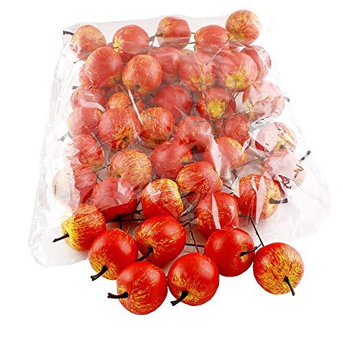 TGG 48 x Deko Äpfel klein 3,5cm, gelb/rot/orange matt, künstlich, SPARPACK