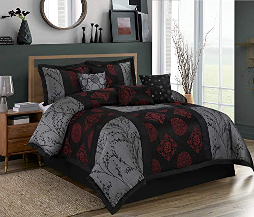 HIG 7 Piece Comforter Set Queen-Gray and Red Jacquard Patchwork-SHANGRULA Bed in A Bag Queen Size- Soft Texture,Smooth,Good Drapability-1 Comforter,2 Shams,3 Decorative Pillows,1 Bedskirt