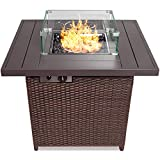 Best Choice Products 32in Fire Pit Table 50,000 BTU Outdoor Wicker Patio Propane Gas w/Glass Wind Guard, Aluminum Tabletop, Glass Rocks, Tank Storage, Lid, Cover - Brown
