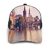Gorra de Beisbol Espalda de Malla Senderismo al Aire Libre Sombrero Deportivo,Puente de Carlos y torres de la ciudad vieja de Praga a orillas del río,Gorra de Sol de Enfriamiento para Hombres Mujeres
