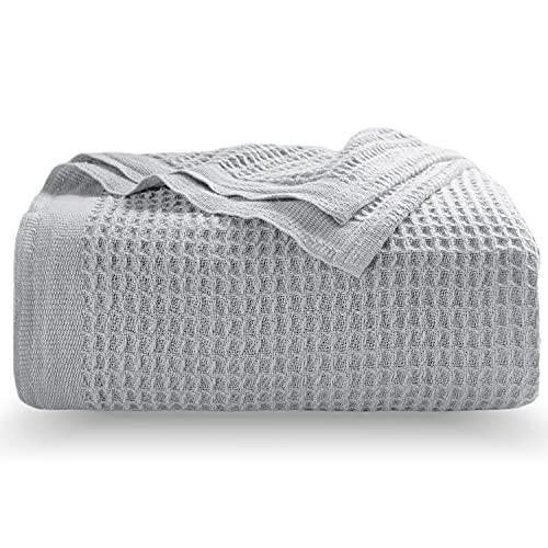 BEDSURE Baumwolle Decke Sommer Tagesdecke– dünne Sommerdecke leichte Kuscheldecke, Universale Baumwolldecke Sofadecke Couchdecke Hellgrau 150x200 cm