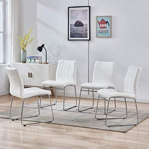 Dining Room Chairs Set of 4, Modern Comfortable Accent Chair with Faux Leather Soft Padded Back in Checkered Pattern and Chrome Legs, Kitchen Side Chairs for Indoor Use:Home,Apartment(4 White Chairs)