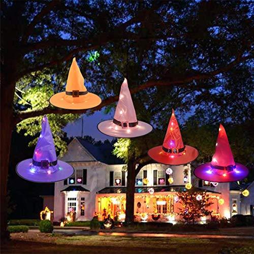 mooderff 5 stuks Halloween heksenhoed decoraties verlichting, Witch Glowing Hat decoratieve hangers voor buiten, binnenplaats, boom (5 kleuren)