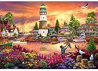 ナンバーキットでペイント灯台DIY油絵キットキャンバスに絵筆とアクリル絵の具 アートクラフト家の壁の装飾16x20インチフレームレス