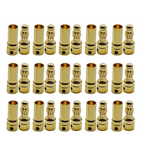 GTIWUNG 15 Pares 3.5mm RC Motor sin escobillas ESC Bañado en Oro Conector Banana Bala (15 Piezas Conector Macho 4.0mm 4mm y 15 Piezas Conector Hembra 3.5mm 4mm)