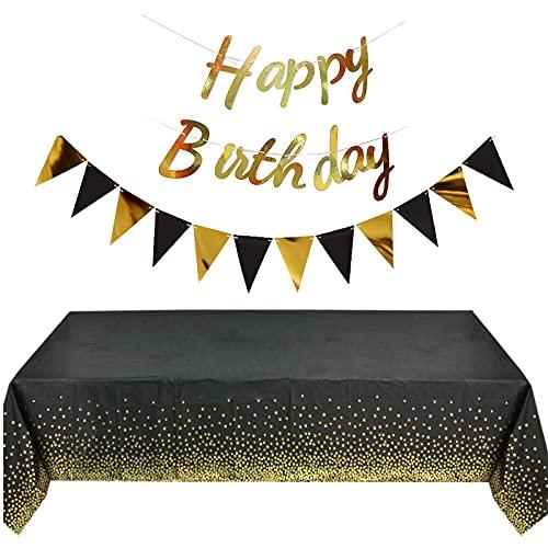 4er Set Einweg Party Tischdecken Plastik Elegant Abwaschbar Plastiktischdecke Geburtstag Tischtuch Gold Dot Rechteckige Tisch Decken Tischwäsche mit Happy Birthday Banner Dreieck Flagge Partyzubehör