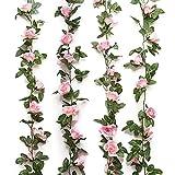 AMACOAM Guirlande Fleurs Artificielles Rose Artificielle Vignes Faux Fleurs de Soie Rose Guirlandes Suspendues 2 Pcs 230 cm Fleur Artificiel Exterieur pour Décoration Murale de Jardin Mariage Maison