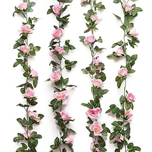AMACOAM Blumengirlande Künstlich Kunstblumen Hängend Rosen Blumen Girlande Fake Blumen Hängepflanze Blätter Girlande für Zuhause Wand Garten Hochzeit Bogen Anordnung Dekoration 2 Stück 230cm 16 Blumen