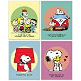 Snoopy Poster Prints - Set of 4 (8 inches x 10 inches) Charlie Brown Peanuts Wall Art Decor Woodstock Lucy Sally Linus