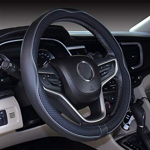 Istn Mikrofaser Leder Auto Lenkradbezug 38cm für die meisten Autos (schwarz grau)