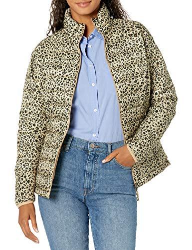 Amazon Essentials Women's Lightweight Long-Sleeve Full-Zip Water-Resistant Packable Puffer Jacket, Animal, Medium