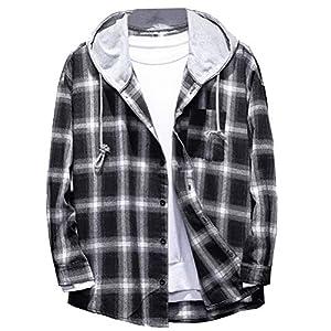 Men's Plaid Hooded Shirts Casual Long Sleeve Lightweight Shirt Jackets