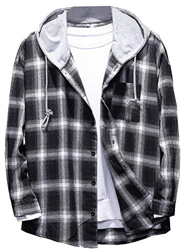 Lavnis Men's Plaid Hooded Shirts Casual Long Sleeve Lightweight Shirt Jackets Black S
