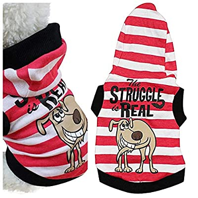 """Chihuahua Clothes Tiny Teacup Dog Puppy Hoodie Coat Red Stripes Clothes Clothing (XS 7"""" (Very TINY), Red/White)"""