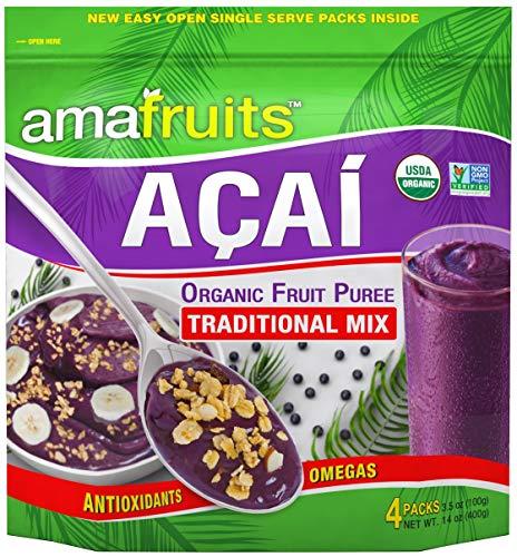Amafruits Acai Berry Frozen Puree Traditional Mix - USDA Organic - Non-GMO Certified - Antioxidant Rich Superfruit - 24 Packs x 3.5oz