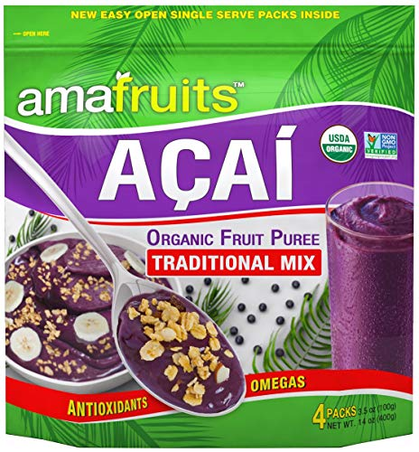 Amafruits Acai Berry Frozen Puree Traditional Mix - USDA Organic - Non-GMO Certified - Antioxidant Rich Superfruit - 24 Packs x 3.5oz
