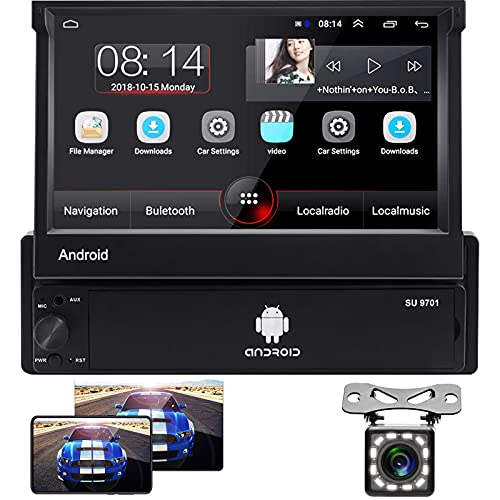 Hodozzy Android Autoradio 1 Din 7   capacitivo flip out Touch Screen Lettore multimediale per auto Bluetooth Radio FM WIFI GPS per telefono Android iOS + Telecamera Posteriore