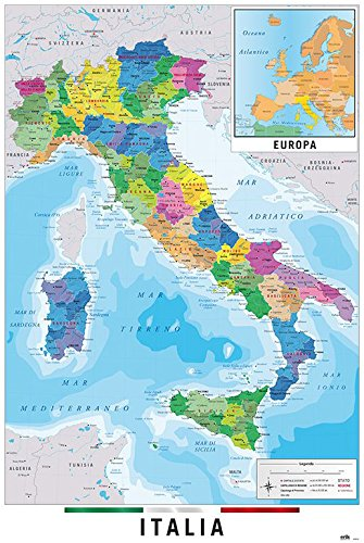 "Map Of Italy - Poster / Print (Italian Language Version) (Size: 24"" x 36"") (By POSTER STOP ONLINE)"