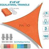 Patio Paradise 8' x8'x 8' Beige Sun Shade Sail Triangle Canopy - Permeable UV Block Fabric Durable...