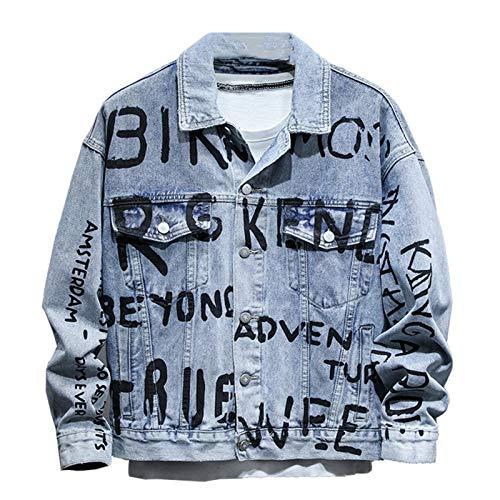 Hombres Letras Impreso Denim Chaqueta Streetwear Azul Claro Hip Hop Abrigo Top ropa de abrigo