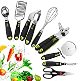 FOLNG 8 Pcs Kitchen Essential Utensils Set Stainless Steel Utensil Set Kitchen Gadgets and Tool Set Best Sellers with Soft Touch Black Handles