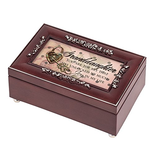 Cottage Garden Granddaughter Unlocked Joy Rosewood Jewelry Music Box Plays You are My Sunshine