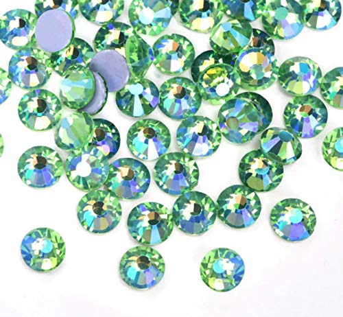 Brillabenny 288 cristales verdes peridot AB boreal termoadhesivos Hotfix Crystal Strass verde...
