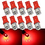 Grandview 10X 501 LED Bulb Red T10 W5W 5-SMD 5050 Super Bright 194 168 2825 Wedge LED Car Lights Source Replacement Bulbs Dashboard Interior Lamps Side Lights footwell Glove Box/Boot/Cargo(24V)