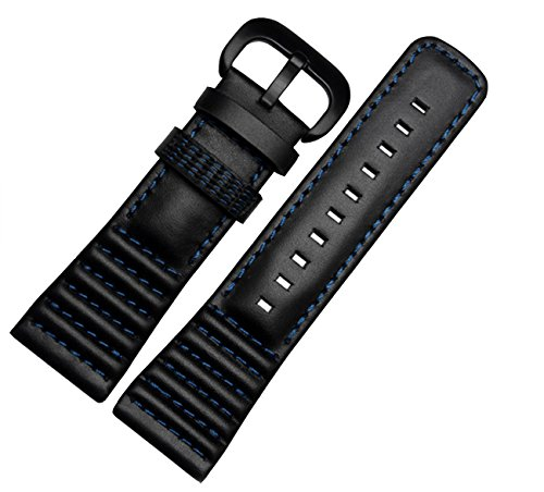 Cinturino Richie: 28 mm, in pelle nera, fibbia per orologi SevenFriday P1...
